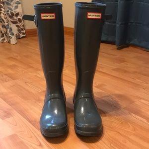 Tall Grey Hunter Rain Boots